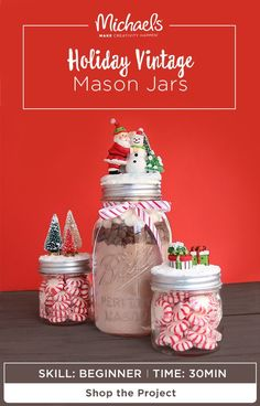 Here's a DIY gift that is perfect for anyone on your list! Easily MAKE your own Holiday Vintage Mason Jars and fill them with seasonal treats like hot coco mix or peppermint candies. You won't believe how easy they are to assemble! Find the complete how to and more on the Michaels project page.