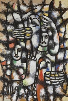 Fernand Léger (French, 1881-1955), Femme aux perroquets [Woman with Parrots], 1941. Gouache, brush and India ink on board, 176.5 x 122 cm