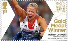 Large image of the ParalympicsGB Gold Medal Winner Miniature Sheet - Hannah Cockcroft Royal Mail Stamps, Gold Medal Winners, Gold Adidas, Asian Games, Commonwealth Games, Team Gb, Summer Olympics, Stamp Collecting, Olympic Games