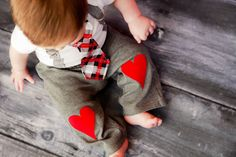 Baby Boy Heart Knee Patch pants  Photo Prop Baby by shopantsypants