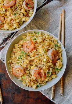 Ginger Garlic Shrimp Fried Rice recipe, by thewoksoflife.com