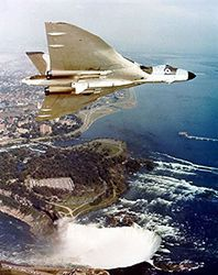RAF Avro Vulcan XL384 carrying a Blue Steel missile over Niagara Falls in 1965 (MOD/Crown Copyright)