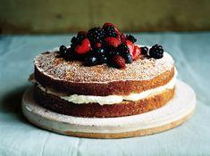 ▲ mascarpone filled cake w/ sherried berries