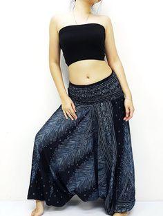 fa3842a0eaf Harem Pants Women Yoga Pants Drop Crotch Aladdin Pants Maxi Pants Boho Pants  Gypsy Pants Jumpsuits   Rompers Trouser Feather Black (HP233)