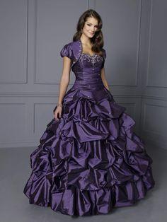Ball Gown Sweetheart Taffeta Floor-length Pick-Ups Quinceanera Dresses at sweetquinceaneradress.com