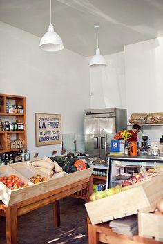 Shopper's Diary: Cookbook in Echo Park Los Angeles : Remodelista Echo Park, Restaurants, Desk Layout, Bar Restaurant, Fruit Shop, Farm Store, Store Interiors, Cafe Shop, Retail Interior