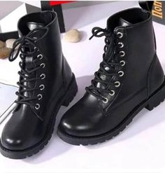 Nouveau Haut Motard Cheville Bottes Boucle à talon plat et Lacets Fermeture Éclair Latérale Haut Top Chaussures