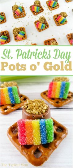 The cutest St. Patricks Day dessert with pots of gold! Great rainbow dessert that kids can make themselves. via /thetypicalmom/