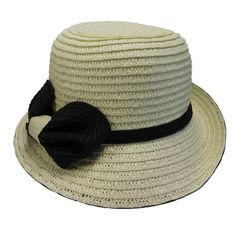Upturned brim on right side. Contrast color underbrim, bow and band. One size fits most. Timeless Classic, Classic Style, Raffia Hat, Summer Hats For Women, Cloche Hat, Summer Bucket, Latest Fashion Trends, Contrast Color, Bucket Hat