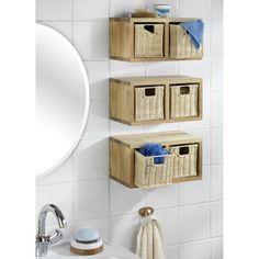 Etag re murale rectangle avec 4 corbeilles bois nordic for Etagere en bois salle de bain