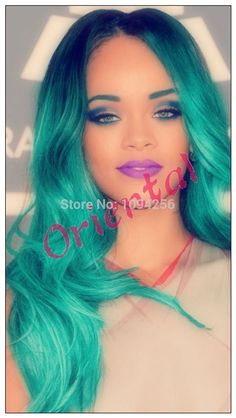 Orienta new arrival high quality Free shipping blue/green two tone natural wavy ombre synthetic lace front wig with middle part-in Synthetic Wigs from Health & Beauty on Aliexpress.com | Alibaba Group