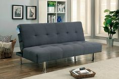 """Dewey collection gray fabric tufted top futon folding sofa bed with side pockets and chrome legs. Measures 70"""" x 36"""" x 34"""" H.  Laying flat measures 70"""" x 45 1/2"""" x 15"""" H.  Some assembly required."""