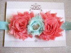 Aqua and Coral Headband Baby Headbands Baby Girl by BirdyBows, $6.95