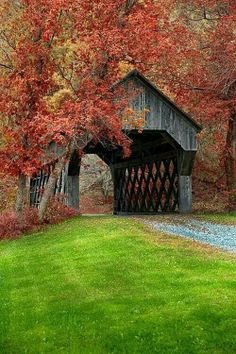 Covered bridge near Chelsea, Vermont bp. Covered bridges are great, If I win the Encore, I would love to take a trip through the countryside and through the covered bridges. Beautiful World, Beautiful Places, Simply Beautiful, Old Bridges, New England Fall, New England Usa, Autumn Scenery, Fall Pictures, Old Barns