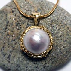 Mabe Pearl Pendant – Unio Goldsmith Pearl Pendant, Diamond Pendant, Pendant Necklace, Pearl Jewelry, Black Diamond, Pearl White, Gems, Pendants, Necklaces