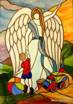 ANIOŁ STRÓŻ witraż dla chłopca - Guardian angel stained glass for a boy
