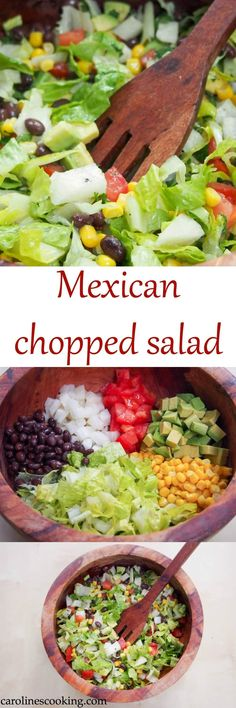 This easy Mexican chopped salad has a delicious cilantro-lime dressing to make all the crunchiness zing. Quick to make and a perfect lunch or side.