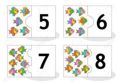 Aprenda Contar Las Cartas Rompecabezas 2part Para Cortar Y Jugar Pescado Números…