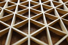 """Mitsukude-kikko Kumiko Japanese lattice - The triangle, which is a basic of kumiko, has universal beauty linked to the Greek number,  the Pythagorean Theorem and the Egyptian pyramids.  """"3"""" is considered as a lucky number in Japan and many other countries."""