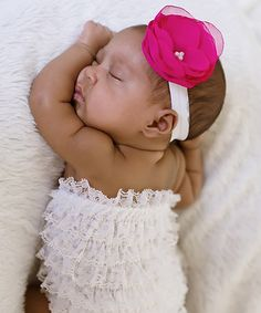 White Lace Romper & Hot Pink Headband by Ella's Bows #zulily #zulilyfinds