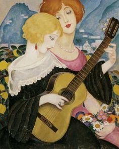 ♪ The Musical Arts ♪ music musician paintings - Gerda Wegener | Air de Capri, 1923