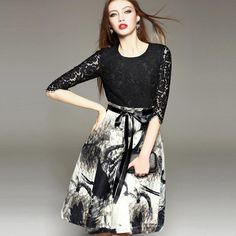2015 Autumn New Fashion Celebrity Lace Crochet Tunic Dress With Sash Women Half Sleeve Ink Print Casual Party Dresses Vestidos Sun Dress Cheap Dresses Online From Cooldancing, $23.12| Dhgate.Com