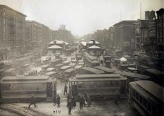 A view from the Williamsburg Bridge, looking west, showing congested traffic in Manhattan, on January 29, 1923.
