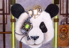 DESSIN Cyber Panda - crayons de couleurs et marqueurs Fairlady My Art Mix Media, Mixed Media Art, Crayons, Cyber, Panda, My Arts, Halloween, Carnival, Color Pencil Picture
