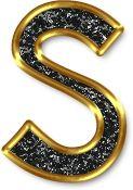 Alfabeto Negro con Orilla Dorada. Letras minúsculas. Letra s.