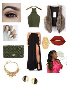 """""""Clubbin'"""" by queenraie ❤ liked on Polyvore featuring Wildfox, Lime Crime, Chanel, Oscar de la Renta and Rolex"""