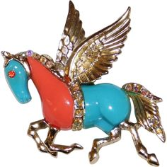 Vintage Faux Turquoise & Coral 'Pegasus' Horse Pin Brooch 1970's
