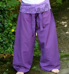 Purple Cotton Relaxation/Meditation/Yoga/Harem/ Festival Pants with Patterned Fold Over Waist for Comfort by MidasMoon on Etsy