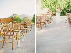 milk glass ceremony aisle. Love the different wood chairs