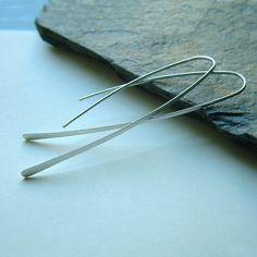Long Silver Earrings Long Hoops Silver Open Hoops