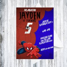Spiderman Invitation  DIGITAL by TheCuteKoala on Etsy