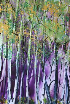 Deep in the Birches - Encaustic Painting | Greeting Card