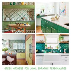 Green Kitchens for the 'Loyal Empathic' personality - read blog post for other personality  matches
