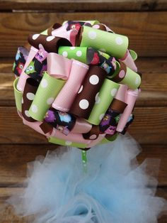 Ribbon Topiary in Owls, Green, Pink, Brown Baby Shower Birthday Party/Event Centerpiece/Decoration: Small Size. $20.00, via Etsy.