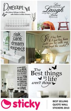STICKY - Our most popular QUOTE wall stickers based on sales!