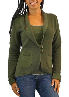 2caf55e9d Women's Organic Cotton Terry Tab Jacket - Natural - USA Made