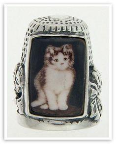 Silver Cat Thimble w/ Porcelain Cat