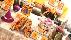 Crafty Sisters: A Halloween Birthday Party - candy buffet #halloween #candybuffet #purpleandorange