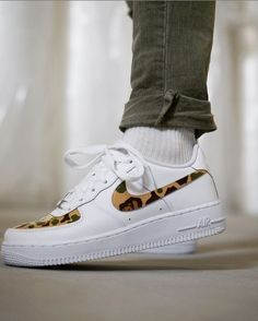 This timeless Nike Air Force 1 low-top sneaker features the popular 'Bape'-design with its signature camouflage pattern located on every swoosh and t… White Nike Shoes, Nike Air Shoes, Sneakers Box, Sneakers Nike, Cute Shoes, Me Too Shoes, Custom Painted Shoes, Fresh Shoes, Bape