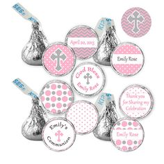 CANDY STICKERS - Printable Personalized Christening Baptism 1st Holy Communion Hershey Kisses - Pink Grey Polka Dots - Girl on Etsy, $10.00
