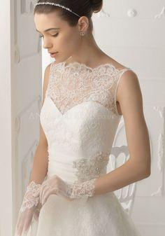 Bateau Neck Natural Waist Zipper Back Floor Length Lace Princess Wedding Dress