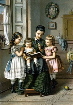 """Reading To The Children""  -  by Granger Art on Demand   --   Lithograph, German, c1870."