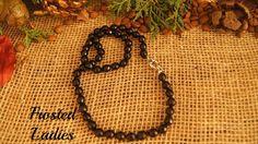 ❤Life Χειροποίητο κολιέ φτιαγμένο από ημιπολύτιμη πέτρα πολυγωνικού  μαύρου αχάτη 8 χιλ. Ιδιαίτερα μοναδικά κοσμήματα με φινέτσα.