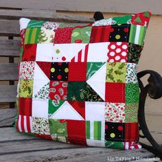 Handmade Christmas holiday patchwork pillow by LizTaylorHandmade