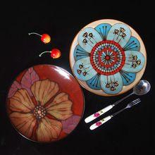 Único platos de pintura a mano personalizada de cerámica vajilla oeste decoración pescados plates-1(China (Mainland))
