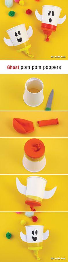Make a ghost pom pom popper as a fun Halloween craft for kids